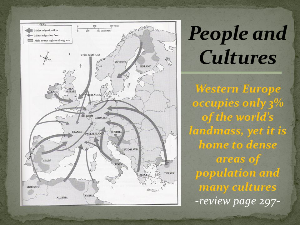 Western Europe occupies only 3% of the world's landmass, yet it is home to dense areas of population and many cultures -review page 297-