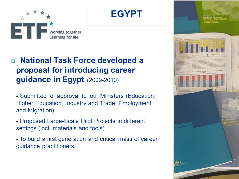 National Task Force developed a proposal for introducing career guidance in Egypt (2009-2010) - Submitted for approval to four Ministers (Education, Higher Education, Industry and Trade, Employment and Migration) - Proposed Large-Scale Pilot Projects in different settings (incl.