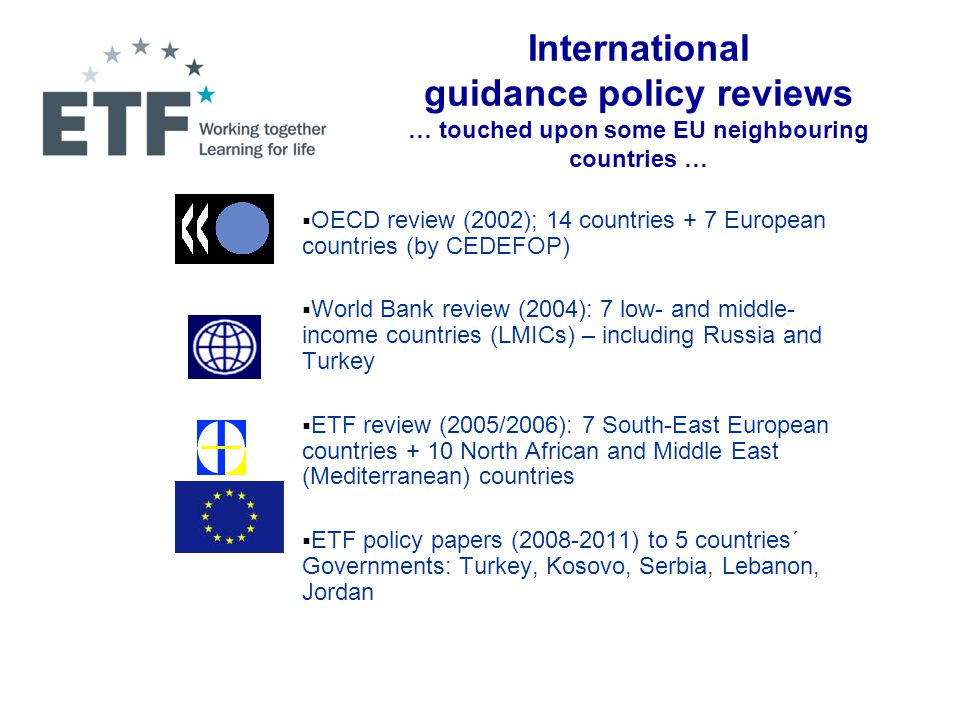  National Task Force developed a proposal for introducing career guidance in Egypt (2009-2010) - Submitted for approval to four Ministers (Education, Higher Education, Industry and Trade, Employment and Migration) - Proposed Large-Scale Pilot Projects in different settings (incl.