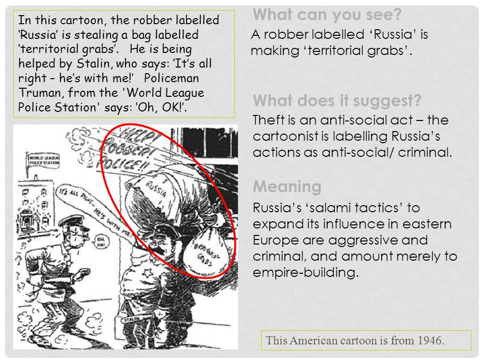 A robber labelled 'Russia' is making 'territorial grabs'. Theft is an anti-social act – the cartoonist is labelling Russia's actions as anti-social/ c