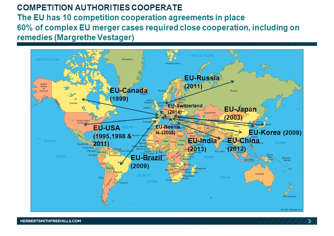 3 COMPETITION AUTHORITIES COOPERATE The EU has 10 competition cooperation agreements in place 60% of complex EU merger cases required close cooperation, including on remedies (Margrethe Vestager) EU-Canada (1999) EU-Bosnia H.