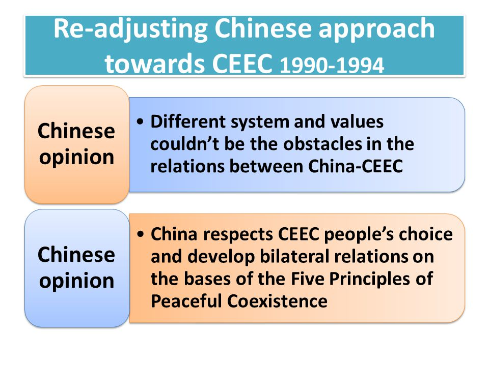 Re-adjusting Chinese approach towards CEEC 1990-1994 Different system and values couldn't be the obstacles in the relations between China-CEEC Chinese opinion China respects CEEC people's choice and develop bilateral relations on the bases of the Five Principles of Peaceful Coexistence Chinese opinion