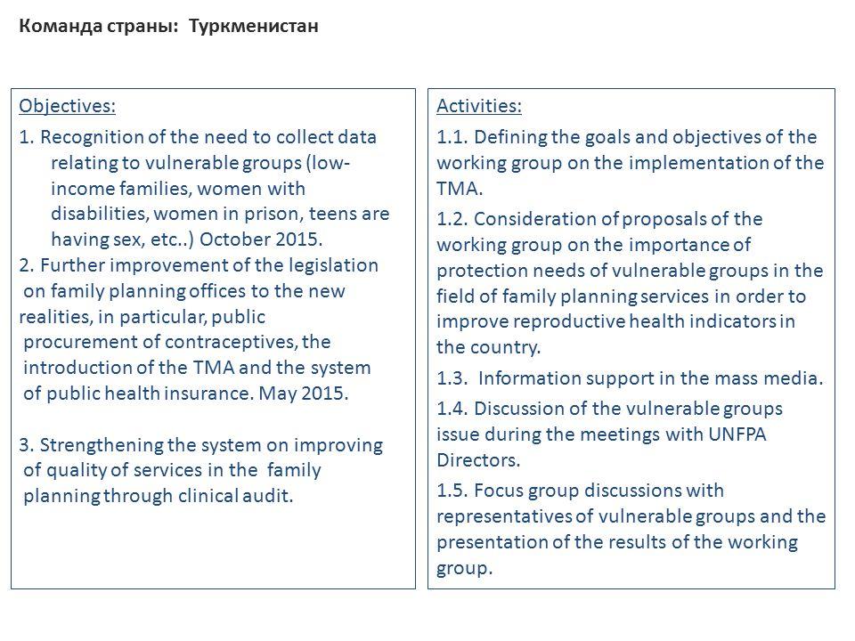 Команда страны: Туркменистан Objectives: 1.