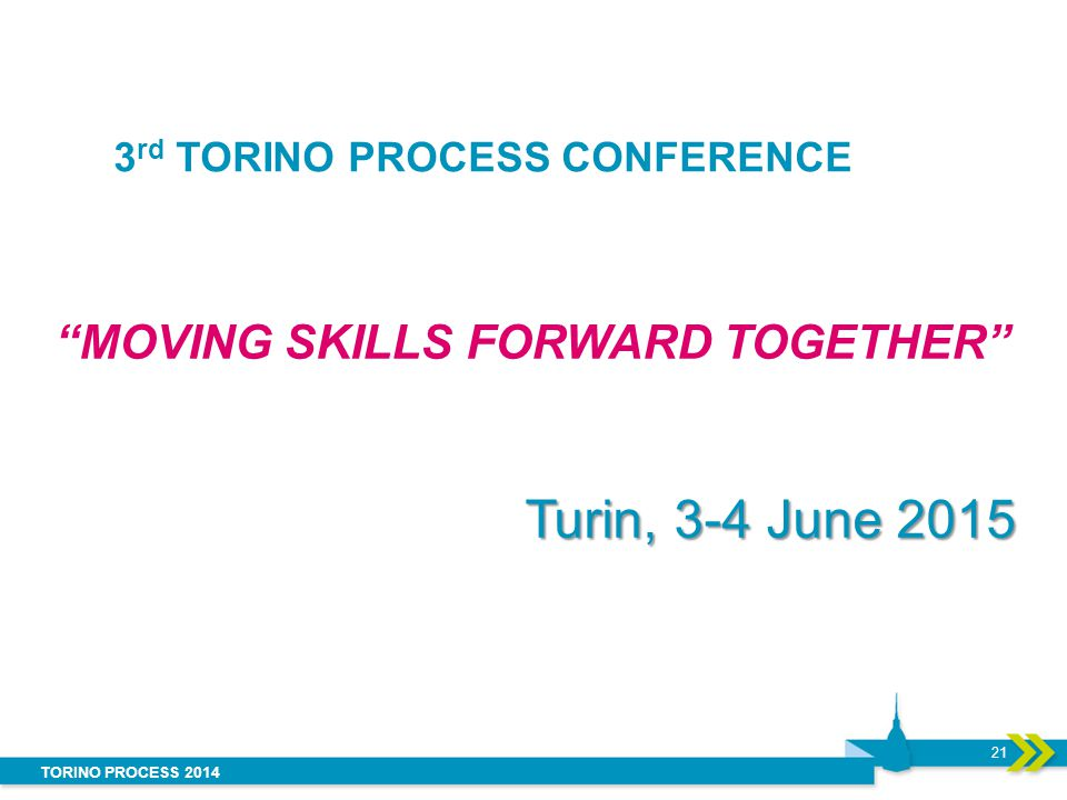 "TORINO PROCESS 2014 3 rd TORINO PROCESS CONFERENCE ""MOVING SKILLS FORWARD TOGETHER"" Turin, 3-4 June 2015 21"