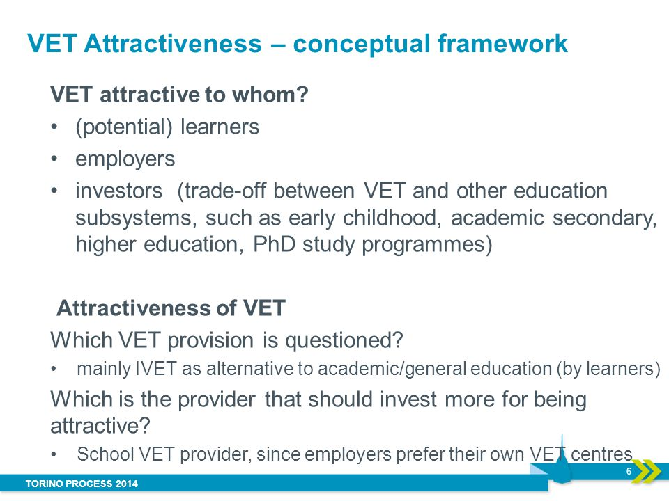 TORINO PROCESS 2014 Drivers of VET Attractiveness: specific characteristics of the IVET system : permeability of pathways, the provision of guidance and counselling, opportunities for transition to higher education, standardisation of qualifications systems, or quality assurance.
