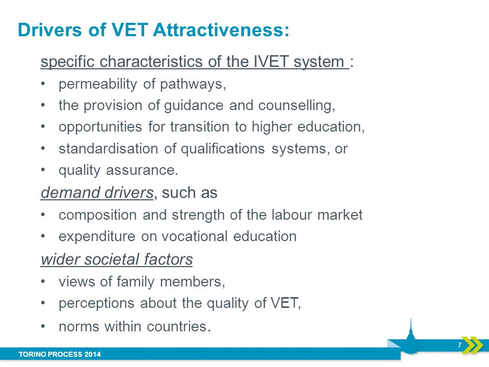 TORINO PROCESS 2014 Drivers of VET Attractiveness: specific characteristics of the IVET system : permeability of pathways, the provision of guidance a