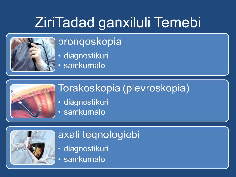 ZiriTadad ganxiluli Temebi bronqoskopia diagnostikuri samkurnalo Torakoskopia (plevroskopia) diagnostikuri samkurnalo axali teqnologiebi diagnostikuri samkurnalo