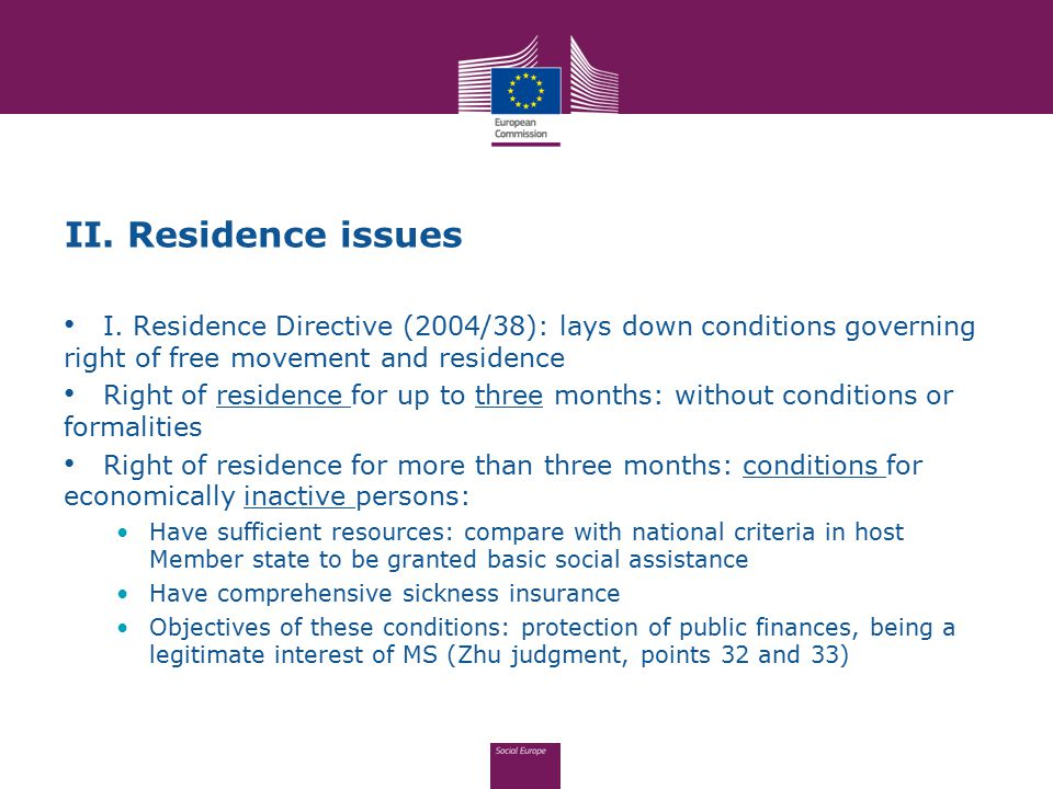 II. Residence issues I. Residence Directive (2004/38): lays down conditions governing right of free movement and residence Right of residence for up t