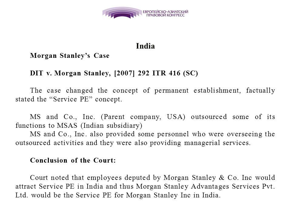 Morgan Stanley's Case DIT v.