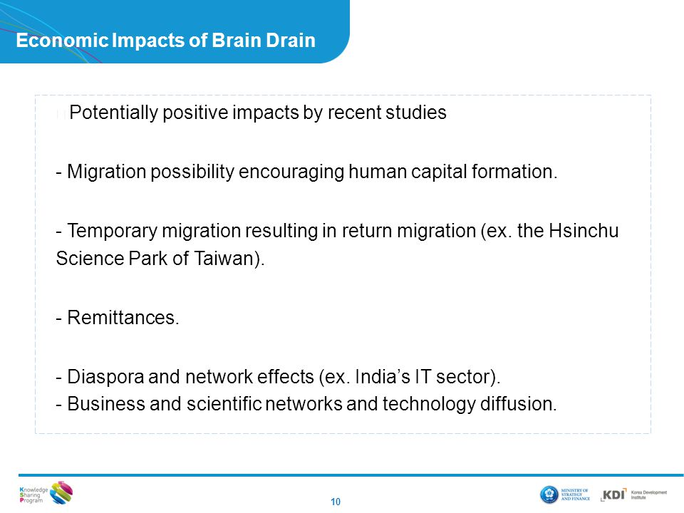 Economic Impacts of Brain Drain 10 ▶ Potentially positive impacts by recent studies - Migration possibility encouraging human capital formation.