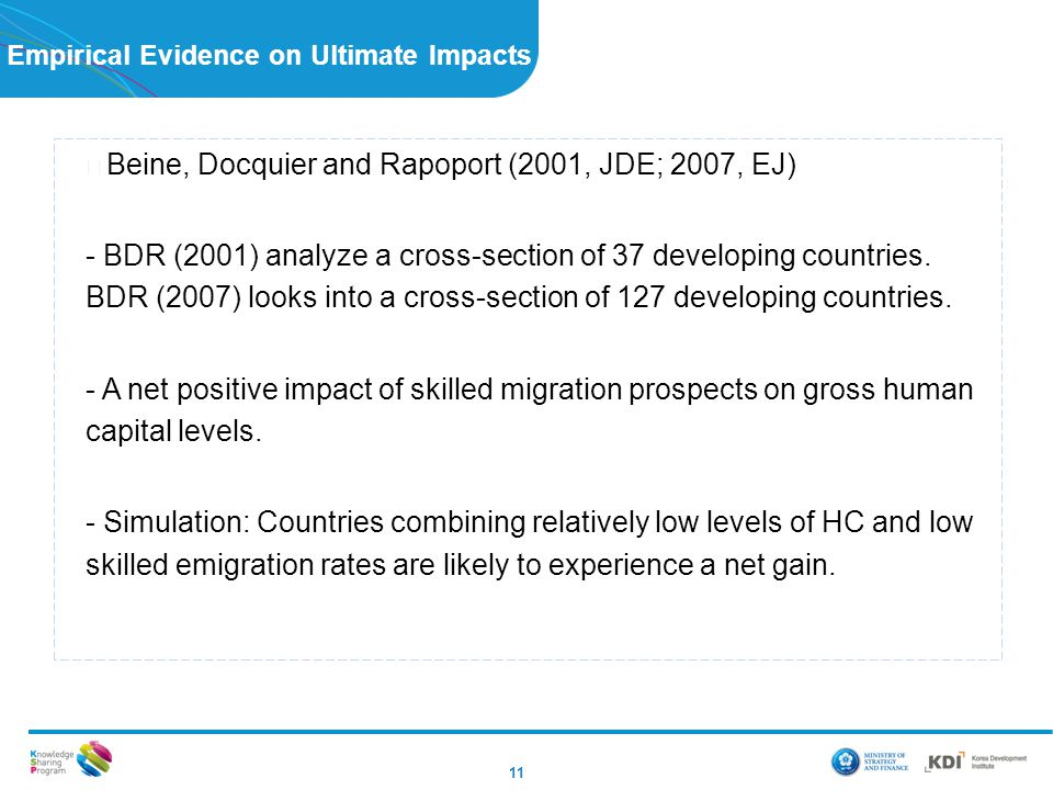 Empirical Evidence on Ultimate Impacts 11 ▶ Beine, Docquier and Rapoport (2001, JDE; 2007, EJ) - BDR (2001) analyze a cross-section of 37 developing countries.
