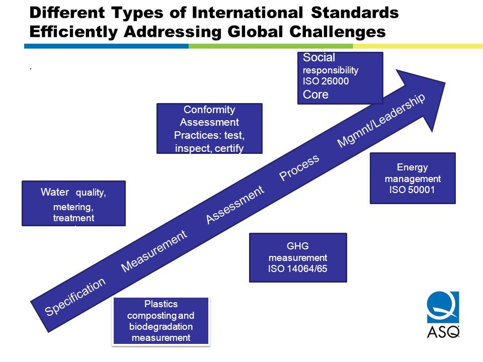 Different Types of International Standards Efficiently Addressing Global Challenges. Specification Measurement Assessment Process Mgmnt/Leadership Soc