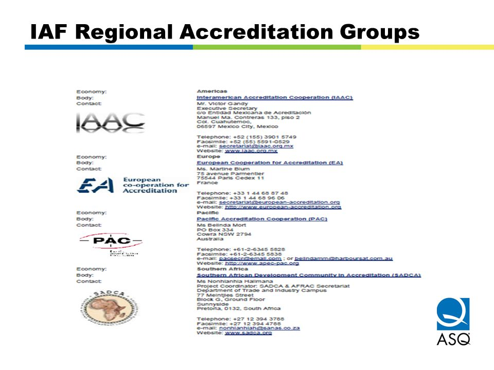 IAF Regional Accreditation Groups