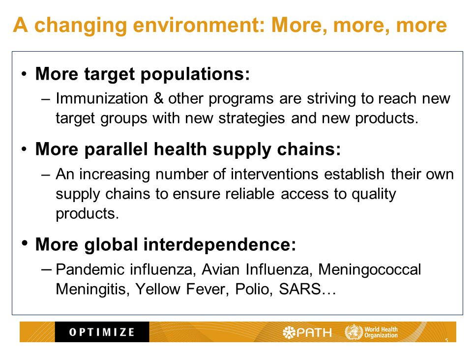 A changing environment: More, more, more More target populations: –Immunization & other programs are striving to reach new target groups with new strategies and new products.