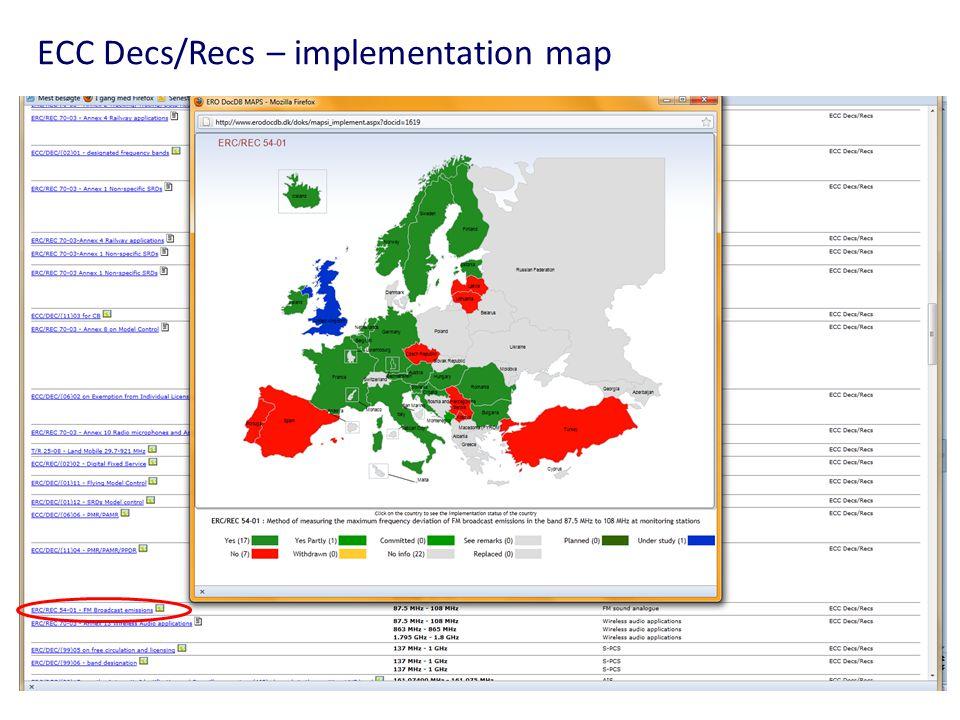 ECC Decs/Recs – implementation map