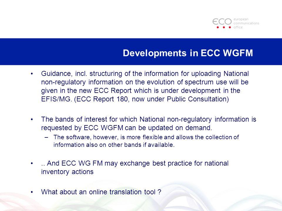 Developments in ECC WGFM Guidance, incl.