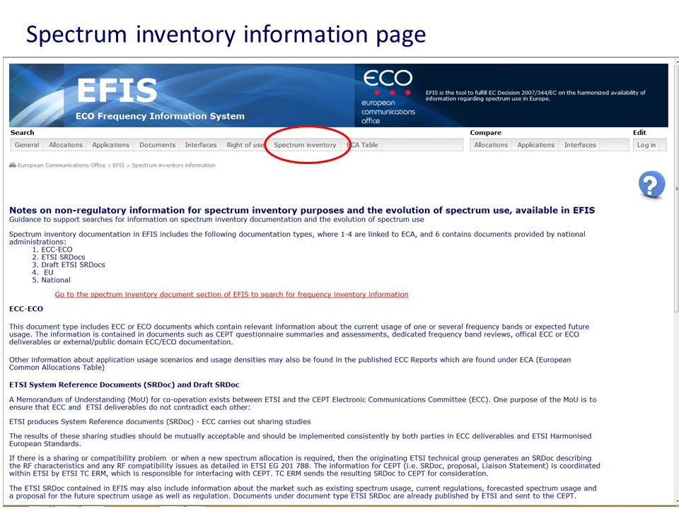 Spectrum inventory information page