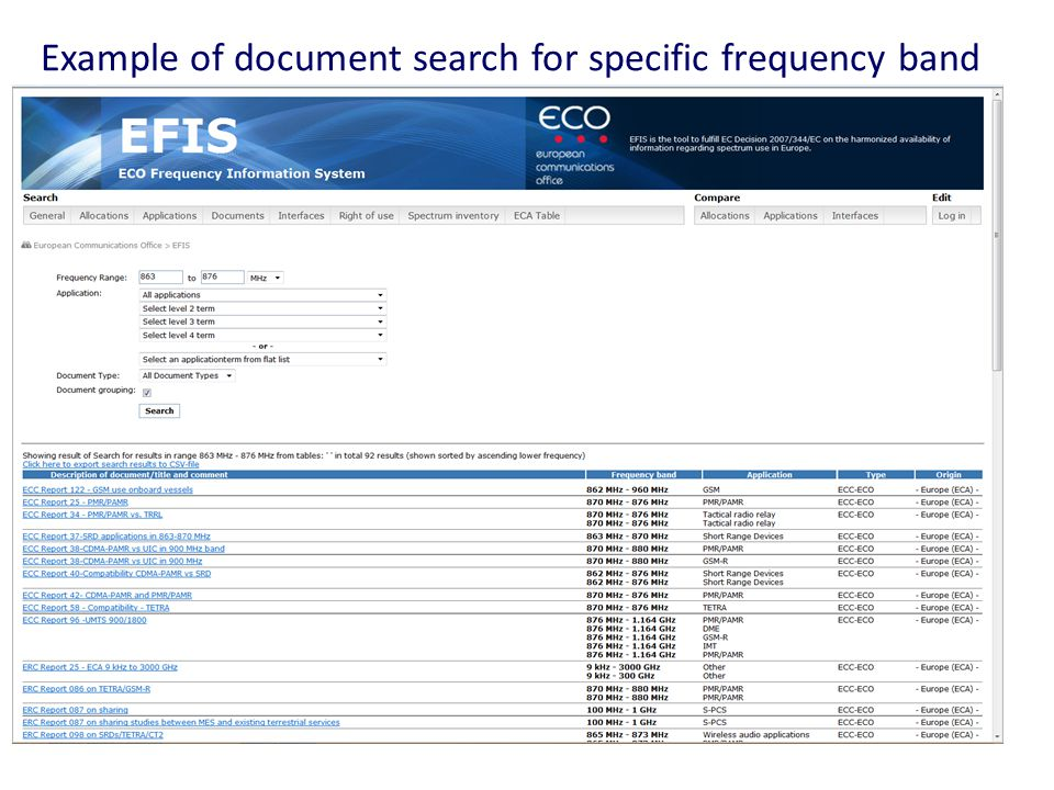 Example of document search for specific frequency band