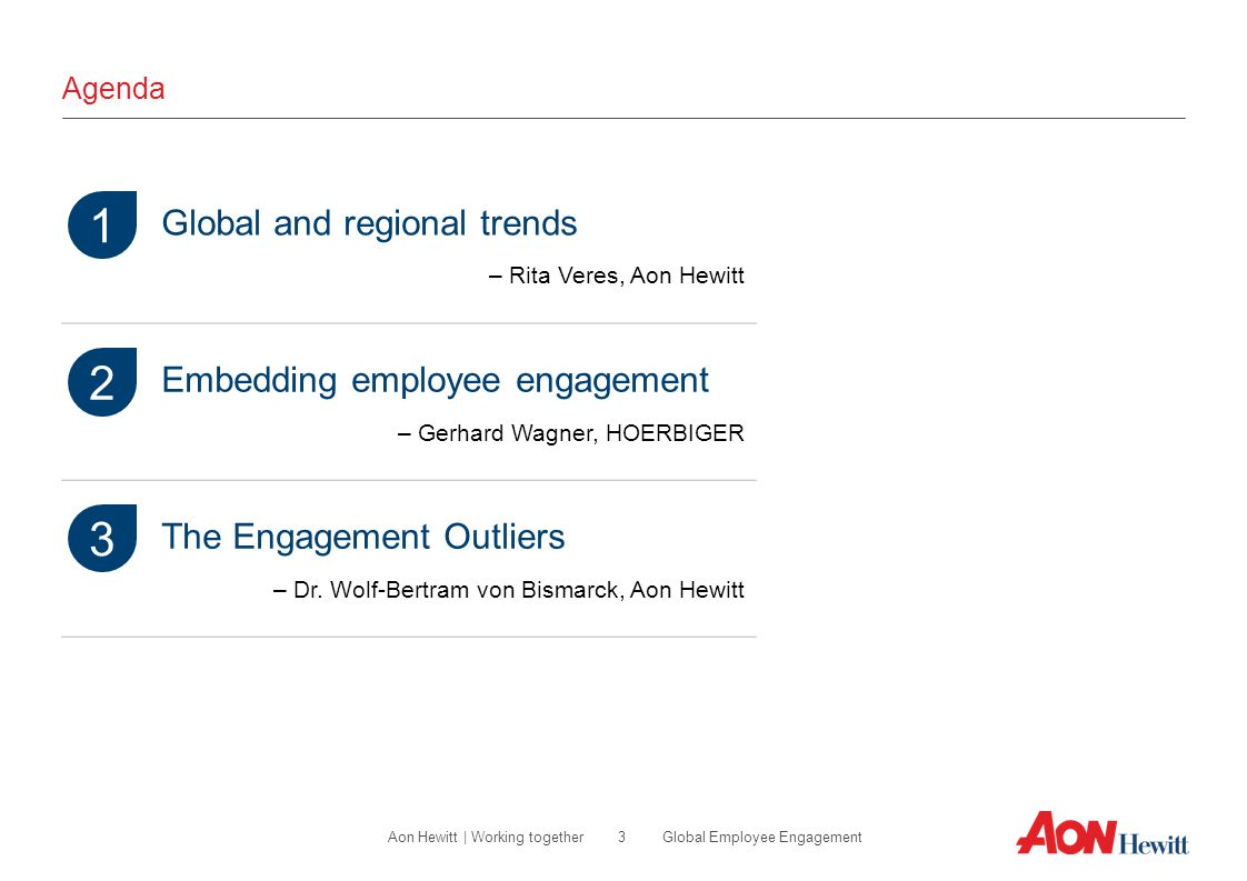 3 Global Employee EngagementAon Hewitt | Working together Agenda Global and regional trends – Rita Veres, Aon Hewitt Embedding employee engagement – G