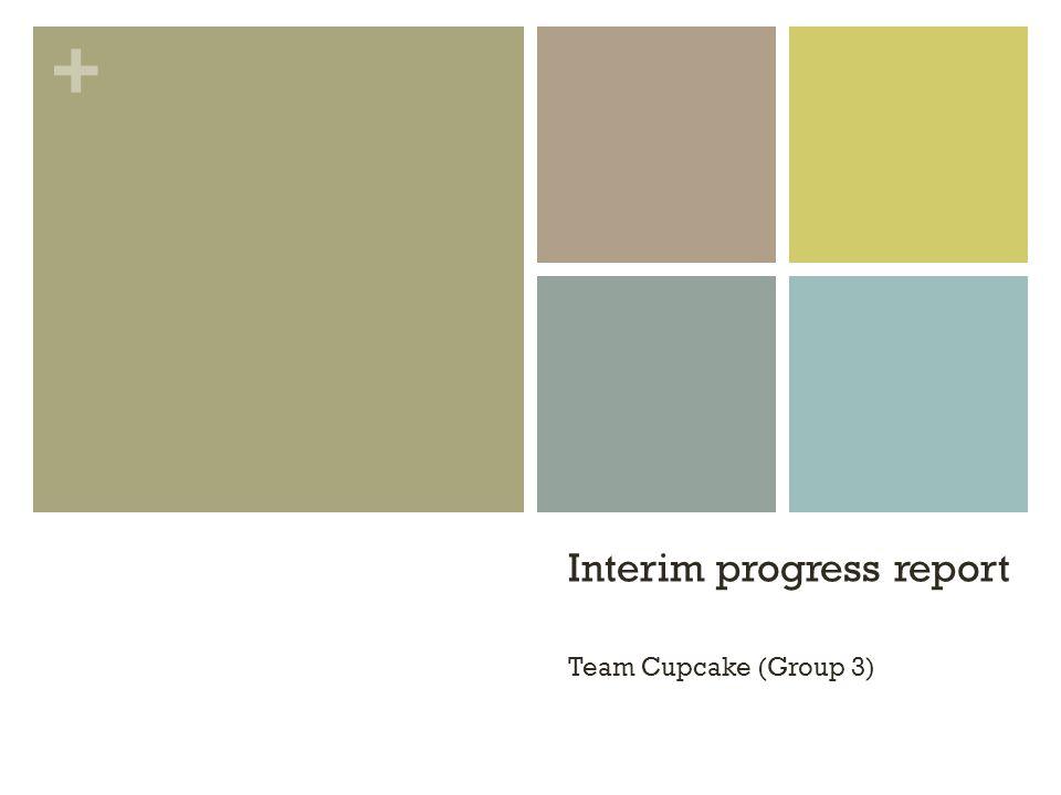 + Interim progress report Team Cupcake (Group 3)