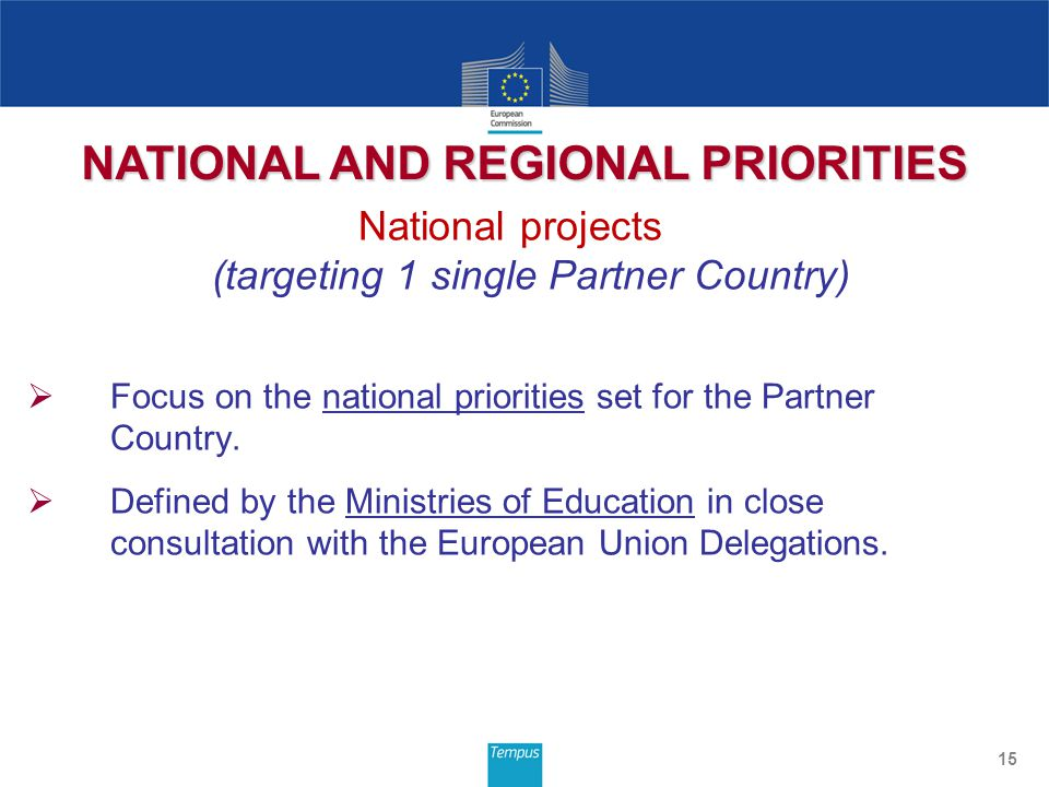 National projects (targeting 1 single Partner Country)  Focus on the national priorities set for the Partner Country.