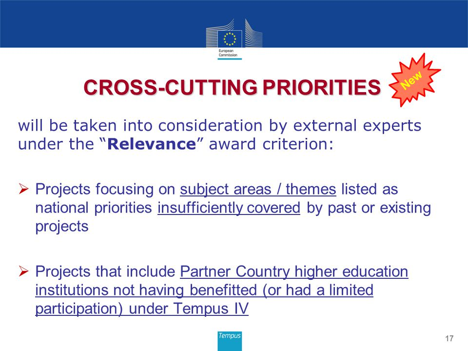 will be taken into consideration by external experts under the Relevance award criterion:  Projects focusing on subject areas / themes listed as national priorities insufficiently covered by past or existing projects  Projects that include Partner Country higher education institutions not having benefitted (or had a limited participation) under Tempus IV 17 CROSS-CUTTING PRIORITIES New
