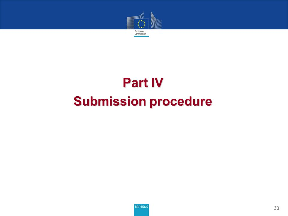 Part IV Submission procedure 33