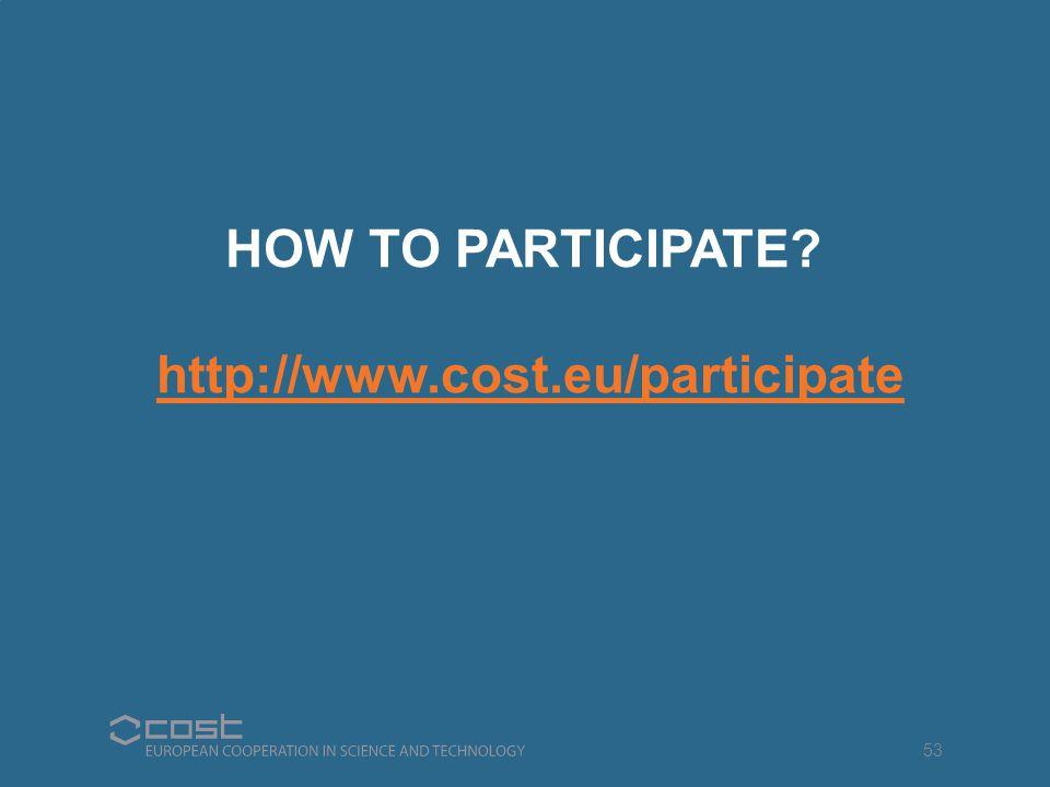 HOW TO PARTICIPATE http://www.cost.eu/participate 53