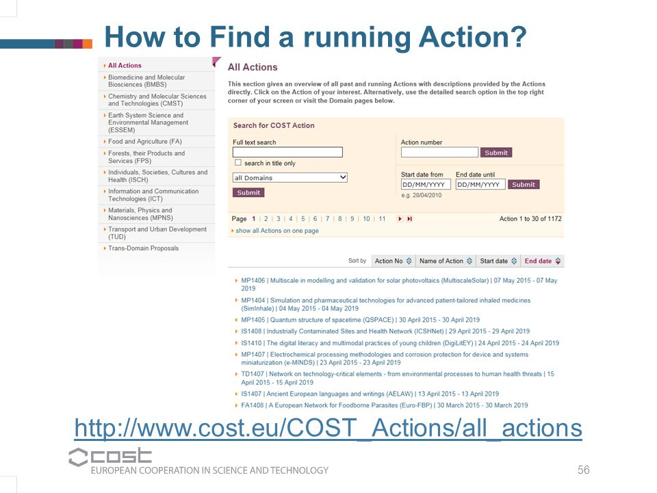 56 How to Find a running Action? http://www.cost.eu/COST_Actions/all_actions