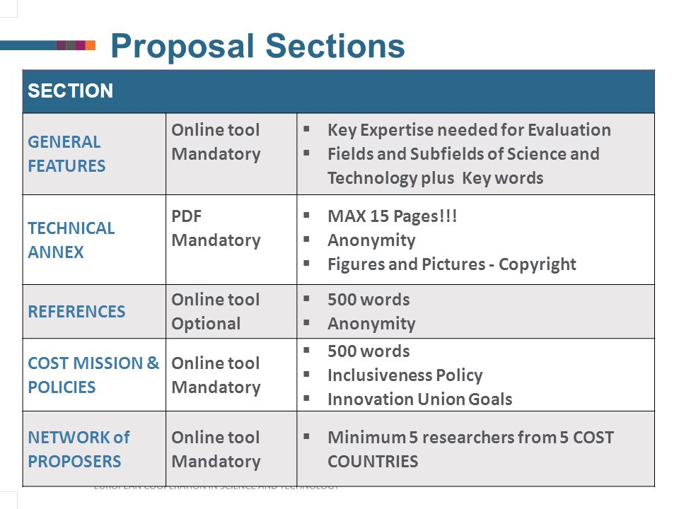 Proposal Sections SECTION GENERAL FEATURES Online tool Mandatory  Key Expertise needed for Evaluation  Fields and Subfields of Science and Technology plus Key words TECHNICAL ANNEX PDF Mandatory  MAX 15 Pages!!.