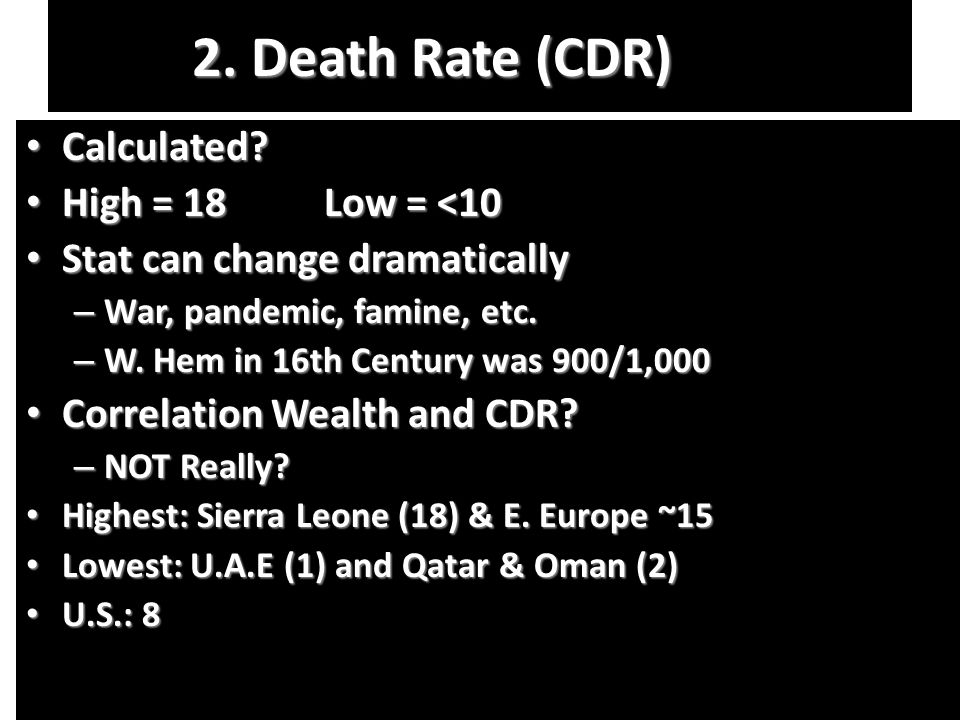 2.Death Rate (CDR) Calculated. Calculated.