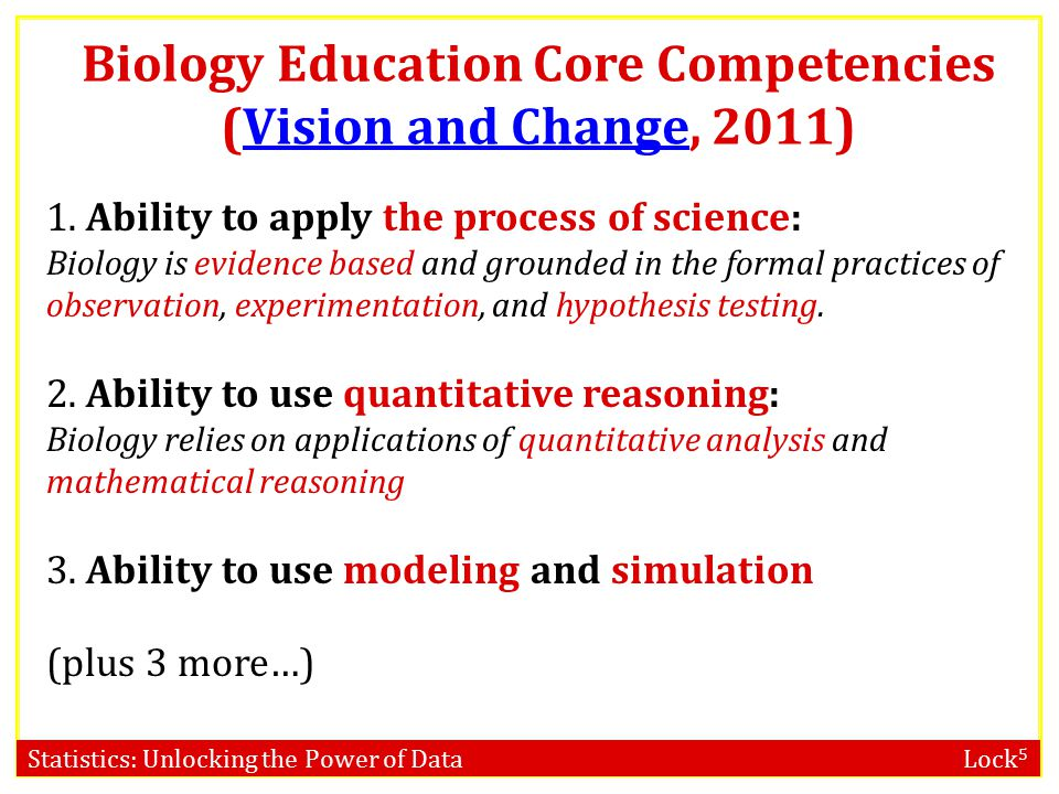 Statistics: Unlocking the Power of Data Lock 5 Biology Education Core Competencies (Vision and Change, 2011)Vision and Change 1.