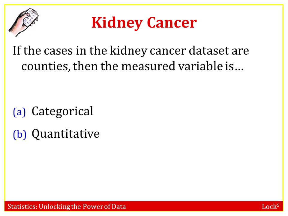 Kidney Cancer If the cases in the kidney cancer dataset are counties, then the measured variable is… (a) Categorical (b) Quantitative