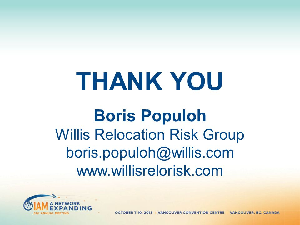 THANK YOU Boris Populoh Willis Relocation Risk Group boris.populoh@willis.com www.willisrelorisk.com