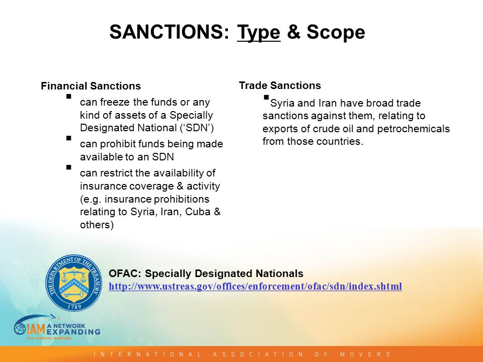 Broad Sanctions  target entire countries or industries  For example: the oil and petroleum sanctions applicable to Iran and Syria Smart/Targeted Sanctions  target SDNs only  For example: asset freeze on the funds of Korea Mining Corp (North Korea) or Muhammad Gaddafi (son of Colonel Gaddafi) - both are SDNs SANCTIONS: Type & Scope