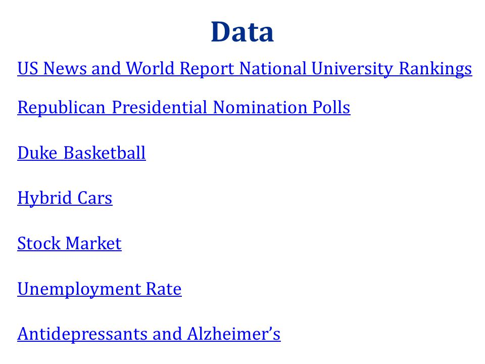 Data US News and World Report National University Rankings Republican Presidential Nomination Polls Duke Basketball Hybrid Cars Stock Market Unemployment Rate Antidepressants and Alzheimer's
