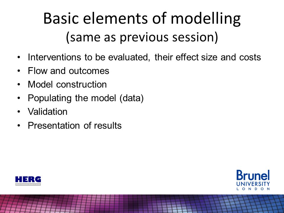 Basic elements of modelling (same as previous session) Interventions to be evaluated, their effect size and costs Flow and outcomes Model construction Populating the model (data) Validation Presentation of results