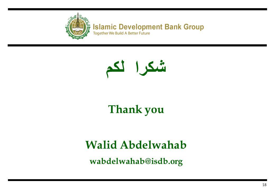 شكرا لكم Thank you Walid Abdelwahab wabdelwahab@isdb.org 18