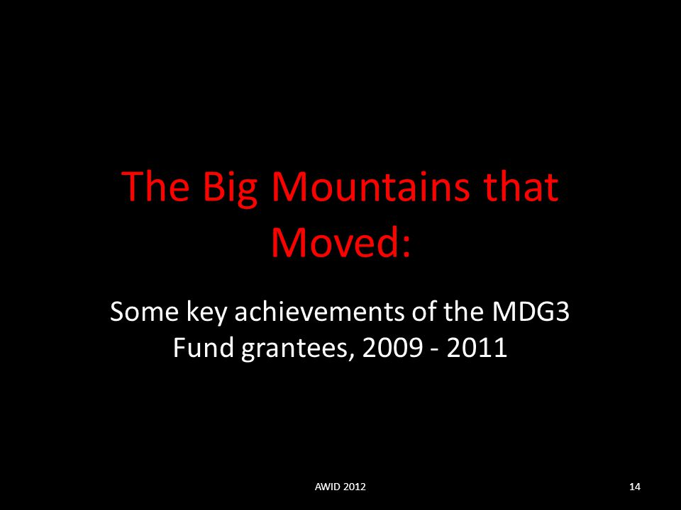 Some key achievements of the MDG3 Fund grantees, 2009 - 2011 The Big Mountains that Moved: AWID 201214