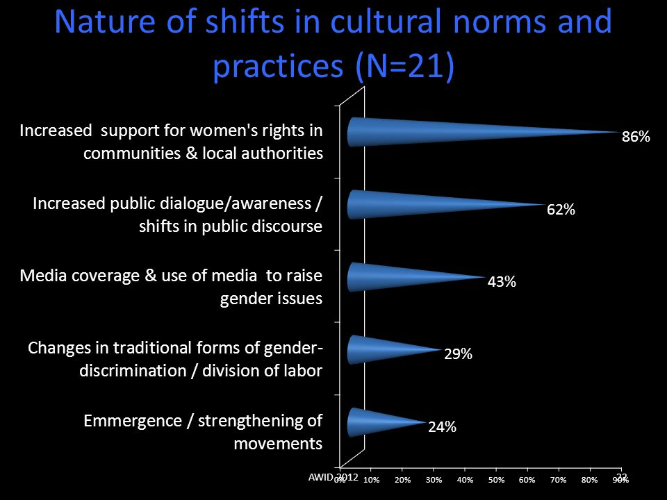 Nature of shifts in cultural norms and practices (N=21) AWID 201222