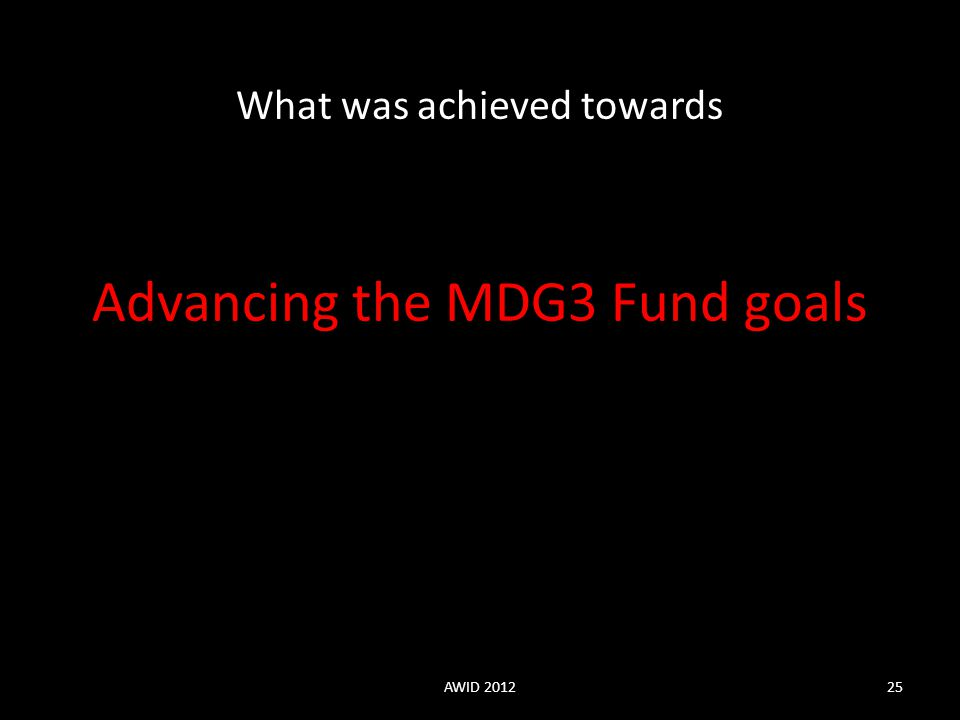 Advancing the MDG3 Fund goals What was achieved towards AWID 201225