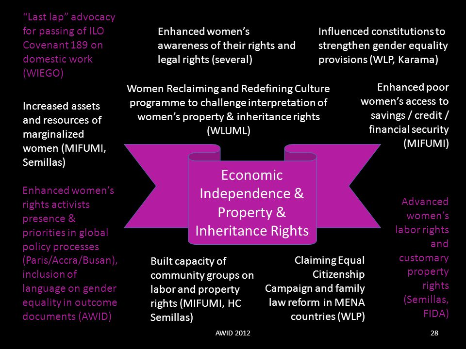 "Economic Independence & Property & Inheritance Rights ""Last lap"" advocacy for passing of ILO Covenant 189 on domestic work (WIEGO) Enhanced women's ri"