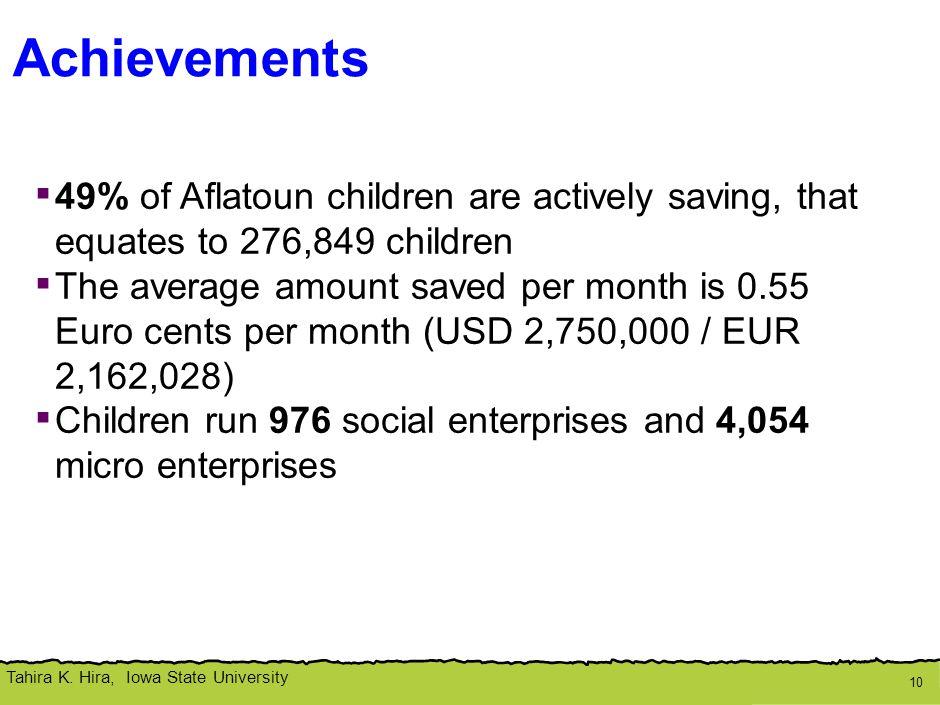 Tahira K. Hira, Iowa State University Achievements 10 ▪ 49% of Aflatoun children are actively saving, that equates to 276,849 children ▪ The average a