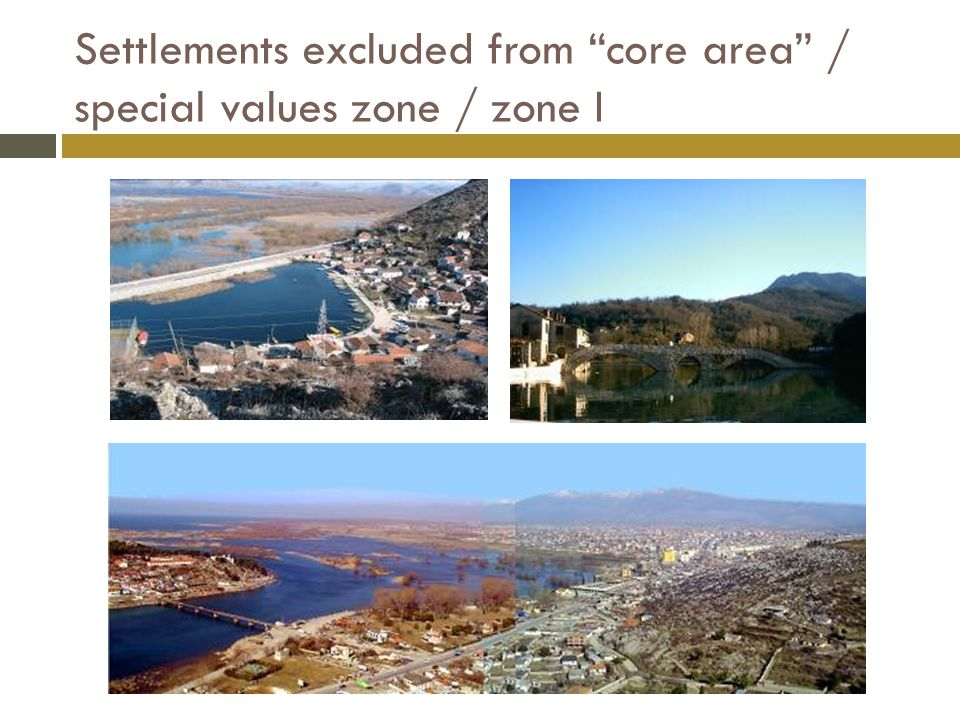 Settlements excluded from core area / special values zone / zone I
