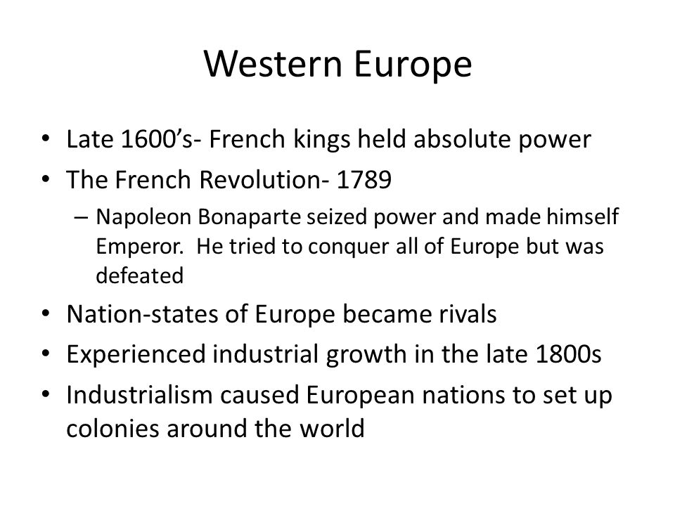 Contrast economies and politics of Eastern Europe with Western Europe in the 1600s?