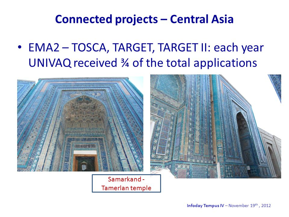 Connected projects – Central Asia Infoday Tempus IV – November 19 th, 2012 EMA2 – TOSCA, TARGET, TARGET II: each year UNIVAQ received ¾ of the total applications Samarkand - Tamerlan temple
