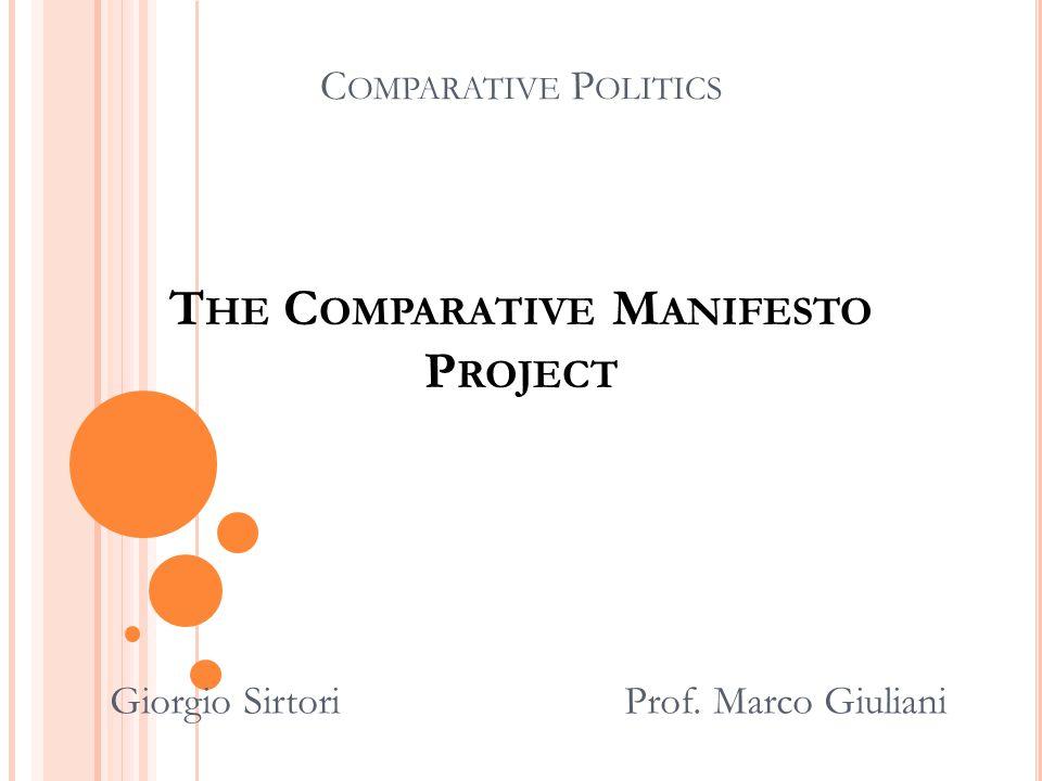 C OMPARATIVE P OLITICS T HE C OMPARATIVE M ANIFESTO P ROJECT Giorgio Sirtori Prof. Marco Giuliani