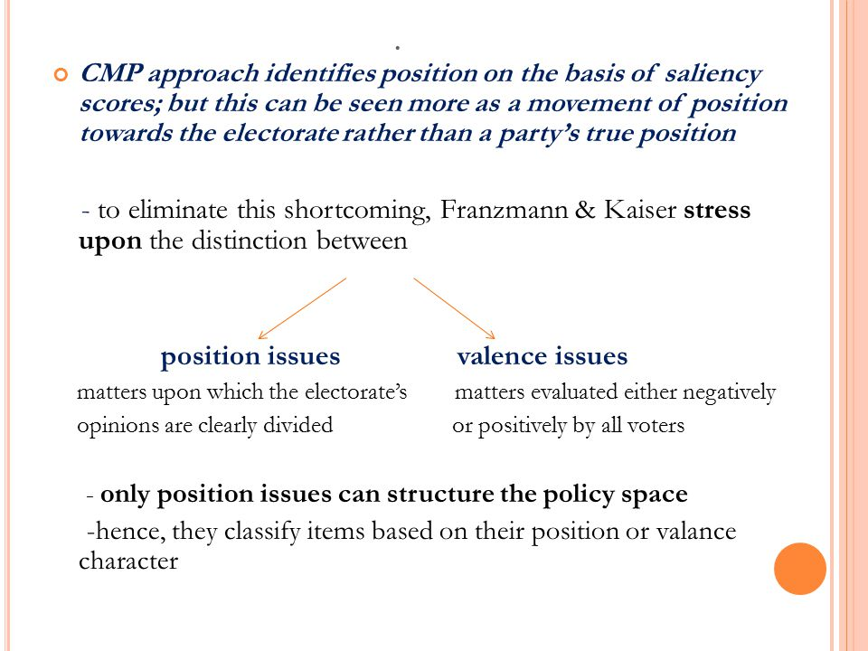 . CMP approach identifies position on the basis of saliency scores; but this can be seen more as a movement of position towards the electorate rather than a party's true position - to eliminate this shortcoming, Franzmann & Kaiser stress upon the distinction between position issues valence issues matters upon which the electorate's matters evaluated either negatively opinions are clearly divided or positively by all voters - only position issues can structure the policy space -hence, they classify items based on their position or valance character