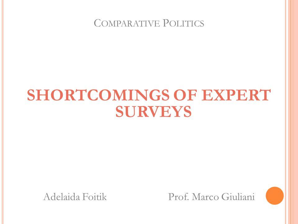 C OMPARATIVE P OLITICS SHORTCOMINGS OF EXPERT SURVEYS Adelaida Foitik Prof. Marco Giuliani