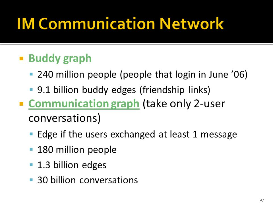  Buddy graph  240 million people (people that login in June '06)  9.1 billion buddy edges (friendship links)  Communication graph (take only 2-user conversations)  Edge if the users exchanged at least 1 message  180 million people  1.3 billion edges  30 billion conversations 27